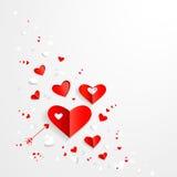 Carta di giorno di biglietti di S. Valentino con i cuori Fotografie Stock Libere da Diritti