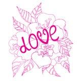 Carta di giorno di biglietti di S. Valentino con i fllowers ed il cuore illustrazione vettoriale