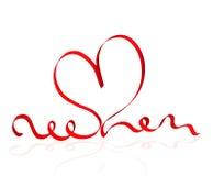 Carta di giorno di biglietti di S. Valentino con il cuore rosso del nastro Immagini Stock