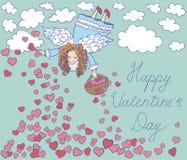 Carta di giorno di biglietti di S. Valentino con l'angelo Fotografia Stock