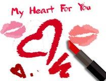 Carta di giorno di biglietti di S. Valentino con l'iscrizione del rossetto Fotografia Stock Libera da Diritti