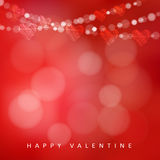 Carta di giorno di biglietti di S. Valentino con la ghirlanda delle luci e dei cuori, illustrazione Immagine Stock