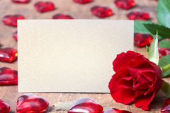 Carta di giorno di biglietti di S. Valentino con rosa e cuori Immagine Stock Libera da Diritti