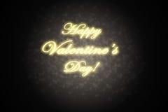 Carta di giorno di biglietti di S. Valentino con testo dorato Immagini Stock
