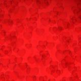 Carta di giorno di biglietti di S. Valentino: Fondo rosso con i cuori Fotografia Stock