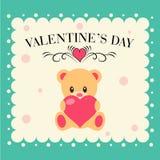 Carta di giorno di S. Valentino con l'orsacchiotto Immagini Stock Libere da Diritti