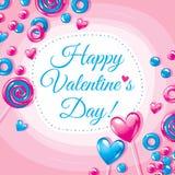 Carta di giorno di Valentine's con le caramelle Illustrazione di vettore Immagini Stock