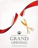 Carta di grande apertura con le forbici dell'oro Fotografia Stock