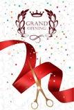 Carta di grande apertura con le forbici dell'oro, i coriandoli ed il nastro rosso Fotografie Stock