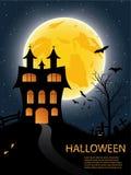 Carta di Halloween con il castello, la zucca, i pipistrelli e la luna Immagini Stock Libere da Diritti