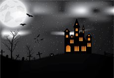Carta di Halloween con il castello, la zucca, i pipistrelli e la luna Immagine Stock