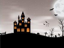 Carta di Halloween con il castello, la zucca, i pipistrelli e la luna Fotografia Stock