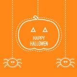 Carta di Halloween con la zucca ed il ragno d'attaccatura due Immagini Stock Libere da Diritti