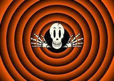 Carta di Halloween con lo scheletro Fotografie Stock