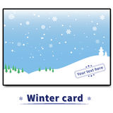 Carta di inverno con gli alberi ed i pupazzi di neve Fotografie Stock Libere da Diritti