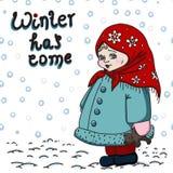 Carta di inverno con la bambina sui precedenti bianchi Fotografia Stock Libera da Diritti