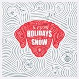 Carta di inverno L'iscrizione - feste impressionanti con neve Nuovo anno del cane/progettazione di Natale Fotografia Stock Libera da Diritti