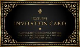 Carta di lusso dell'invito dell'oro e del nero - stile d'annata Fotografia Stock