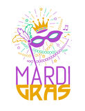Carta di Mardi Gras Party Mask Greeting Immagine Stock