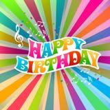 Carta di musica di arte di buon compleanno illustrazione di stock