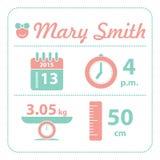 Carta di nascita di annuncio della neonata Fotografie Stock Libere da Diritti