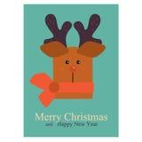 Carta di Natale e del nuovo anno di saluto con il fronte dei cervi Immagini Stock Libere da Diritti