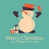 Carta di Natale e del nuovo anno di saluto con il pupazzo di neve Fotografie Stock