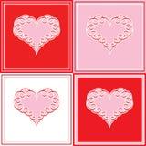 Carta di nota dell'innamorato di amore di modo del biglietto di S. Valentino del cuore retro Fotografia Stock Libera da Diritti
