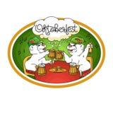 Carta di Oktoberfest Orsi nella conversazione amichevole sopra una birra illustrazione vettoriale