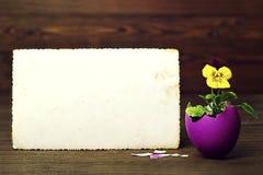 Carta di pasqua in bianco Fotografia Stock Libera da Diritti