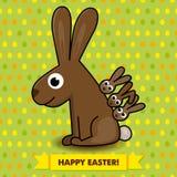 Carta di pasqua con il coniglietto Fotografie Stock