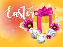 Carta di pasqua con il contenitore, le uova ed i fiori di regalo illustrazione vettoriale