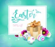 Carta di pasqua con il contenitore, le uova ed i fiori di regalo royalty illustrazione gratis