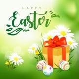 Carta di pasqua con il contenitore, le uova ed i fiori di regalo illustrazione di stock