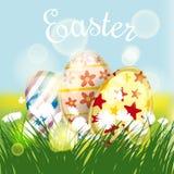 Carta di pasqua con le uova ed i fiori Immagine Stock