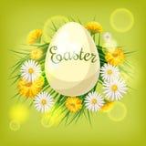 Carta di pasqua con le uova ed i fiori Fotografia Stock Libera da Diritti
