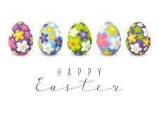 Carta di pasqua con le uova floreali di colore Fotografia Stock