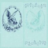 Carta di pasqua del grafico di vettore con coniglio Fotografia Stock