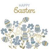 Carta di pasqua felice con i fiori e le uova pasquali Fotografie Stock Libere da Diritti