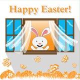 Carta di pasqua felice con il coniglietto nella finestra Immagini Stock Libere da Diritti