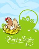 Carta di pasqua felice con la gallina e canestro con pasqua Fotografie Stock