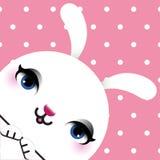 Carta di Pasqua felice con la testa di un coniglio Fotografia Stock