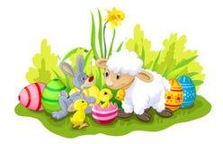 Carta di pasqua felice con le pecore, il coniglietto ed i polli Fotografia Stock Libera da Diritti