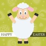 Carta di pasqua felice verde con l'agnello Fotografie Stock