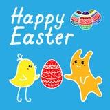 Carta di pasqua nello stile di kawaii con il pollo, il coniglio, le uova di Pasqua e l'iscrizione illustrazione di stock