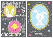 Carta di pasqua variopinta con il coniglietto Fotografia Stock