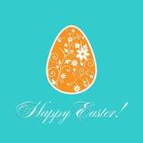 Carta di progettazione del modello di Pasqua con le ombre Scarabocchi floreali Fotografie Stock Libere da Diritti