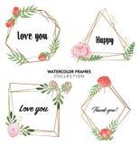 Carta di progettazione floreale di vettore in acquerello illustrazione di stock