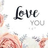Carta di progettazione floreale di vettore Giardino rosa Rosa, peonia bianca f della pesca Immagine Stock