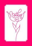 Carta di regalo della festa con il giorno del ` s della madre dell'iscrizione della mano Modello per un'insegna, manifesto, alett Fotografia Stock Libera da Diritti